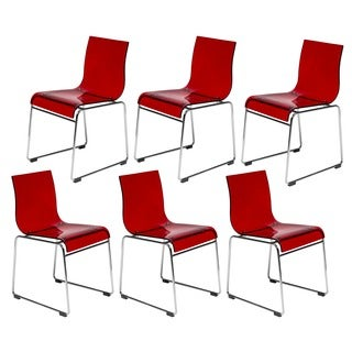 LeisureMod Moreno Transparen Red Chair (Set of 6)