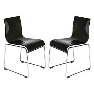 LeisureMod Moreno Transparent Black Acrylic Modern Chair (Set of 2)