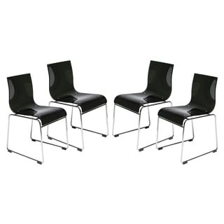 LeisureMod Moreno Transparent Black Chair (Set of 4)