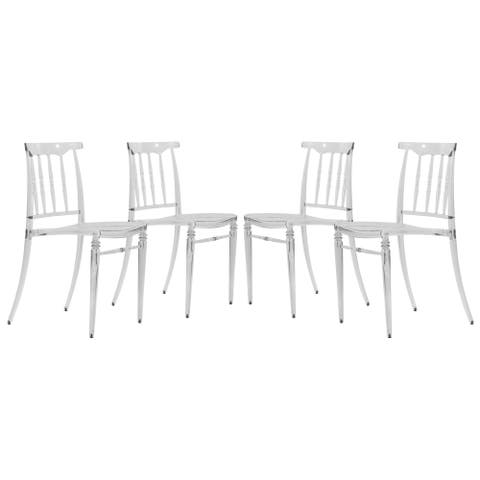 LeisureMod Norco Modern Lucite Transparent Dining Side Chair Set of 4