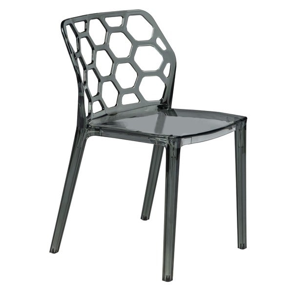 LeisureMod Cove Black Honeycomb Lucite Dining Side Chair