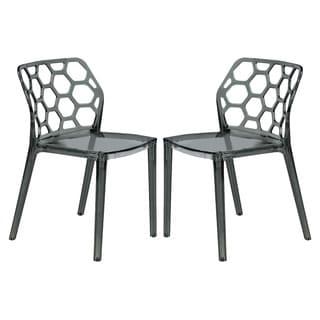LeisureMod Cove Transparent Black Acrylic Modern Dining Chair (Set of 2)