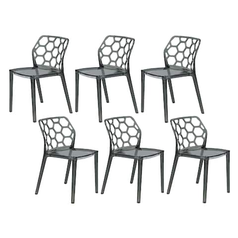 LeisureMod Cove Black Honeycomb Lucite Dining Side Chair Set of 6