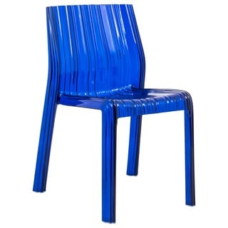 LeisureMod Denville Transparent Blue Dining Accent Chair