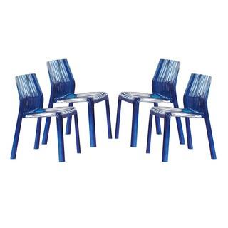 LeisureMod Denville Transparent Blue Plastic Dining Accent Chair (Set of 4)