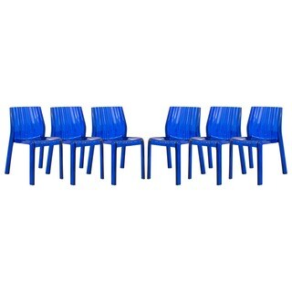 LeisureMod Denville Transparent Blue Plastic Dining Accent Chair (Set of 6)