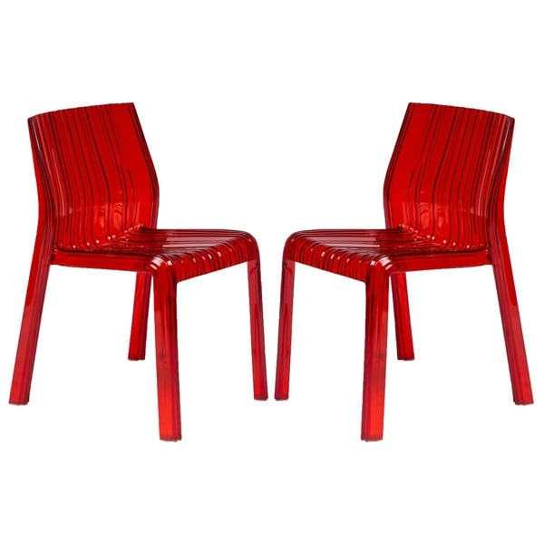 LeisureMod Denville Transparent Red Plastic Dining Accent Chair (Set of 2)
