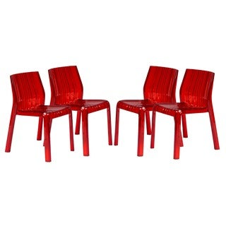 LeisureMod Denville Transparent Red Plastic Dining Accent Chair (Set of 4)