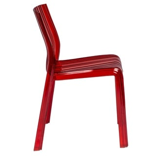 LeisureMod Denville Transparent Red Plastic Dining Accent Chair (Set of 6)
