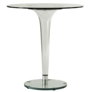 LeisureMod Linden Modern 28-inch Round Glass Accent Dining Table