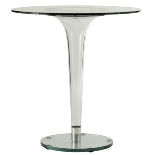 LeisureMod Linden Modern 28-inch Round Glass Accent Dining Table - CLEAR - 27x27