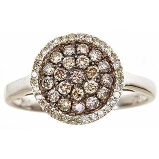 14k White Gold 5/8ct TDW White and Brown Diamond Ring