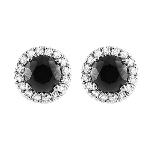 10k White Gold 5/6ct TDW Black and White Diamond Halo Stud Earrings