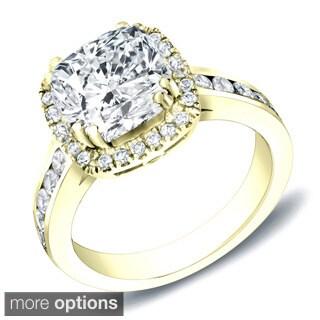 Auriya 14k White Gold 2ct TDW Certified Cushion Cut Diamond Ring (H-I, SI1-SI2)