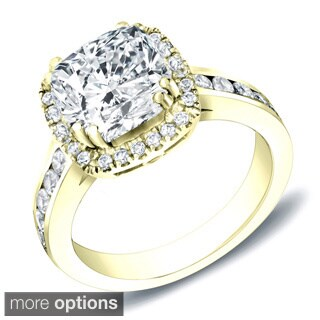 Auriya 14k White Gold 2ct TDW Certified Cushion Cut Diamond Ring