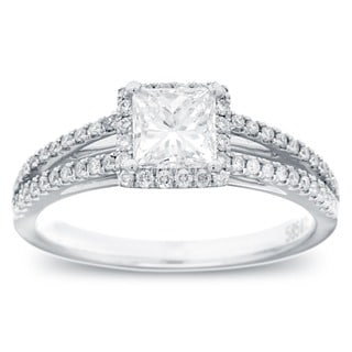 Azaro 14k White Gold 1ct TDW Princess-cut Diamond Halo Ring (G-H, SI1-I2)
