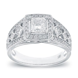 Azaro 14k White Gold 1 1/3 TDW Vintage Princess-cut Diamond Ring