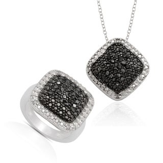 Finesque Sterling Silver Black Diamond Ring and Bonus Matching Necklace
