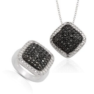 Finesque Sterling Silver Black Diamond Ring and Bonus Matching Necklace (3 options available)