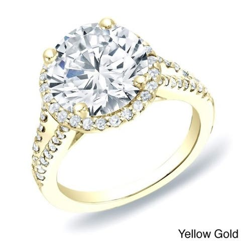 Auriya 14k Gold 1 3/4ctw Split-shank Halo Diamond Engagement Ring