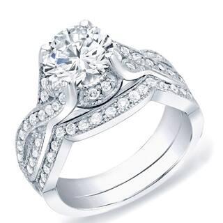 Auriya 14k Gold 1 1/2carat TW Vintage Round Diamond Engagement Ring Set Certified