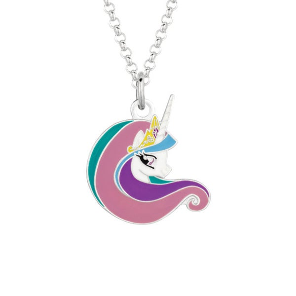 Fine Silver Plated Celestia Face My Little Pony Pendant Necklace