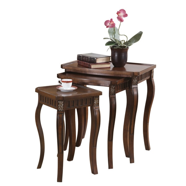 Coaster Company 3 Piece Warm Brown Curved Leg Nesting Table Set