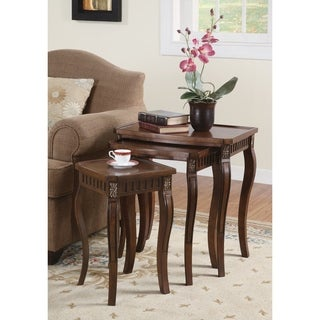 3-piece Warm Brown Curved-leg Nesting Table Set