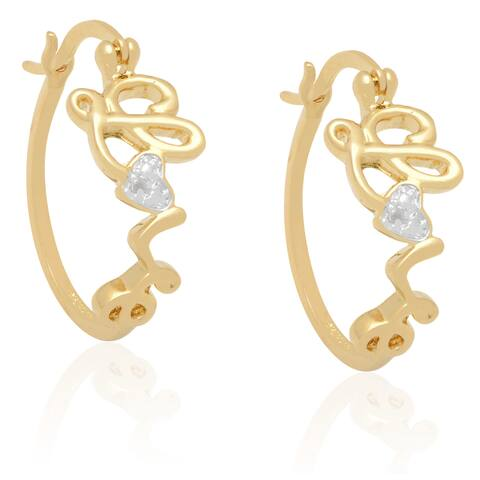 "Finesque Diamond Accent ""Love"" Hoop Earrings"