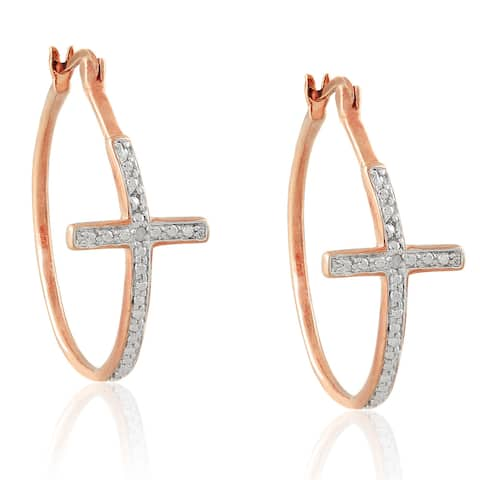 Finesque Diamond Accent Cross Hoop Earrings