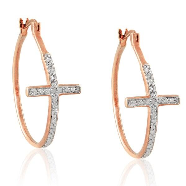 Finesque Diamond Accent Cross Hoop Earrings. Opens flyout.