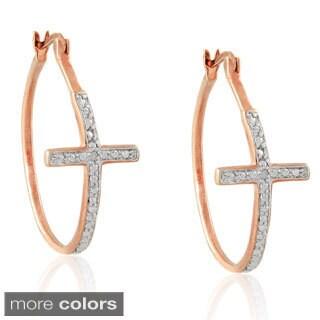 Finesque Diamond Accent Cross Hoop Earrings