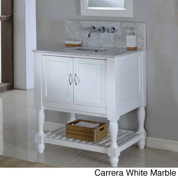Direct Vanity 32 Inch Pearl White Mission Turnleg Spa