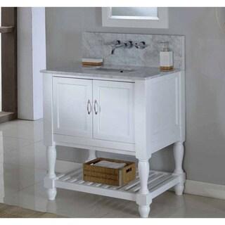 Direct Vanity 32-inch Pearl White Mission Turnleg Spa Premium Single Vanity Sink Cabinet