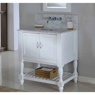 Direct Vanity 32-inch Pearl White Mission Turnleg Spa Premium Single Vanity Sink Cabinet