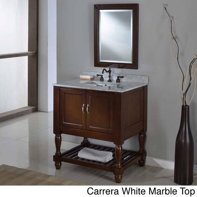 Direct Vanity 32-inch Dark Brown Mission Turnleg Spa Single Vanity Sink Cabinet (black granite with mirror - Granite/Stone)