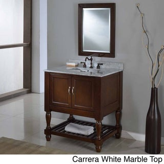 Direct Vanity 32-inch Dark Brown Mission Turnleg Spa Single Vanity Sink Cabinet (carrara white marble without mirror - Marble/Stone)