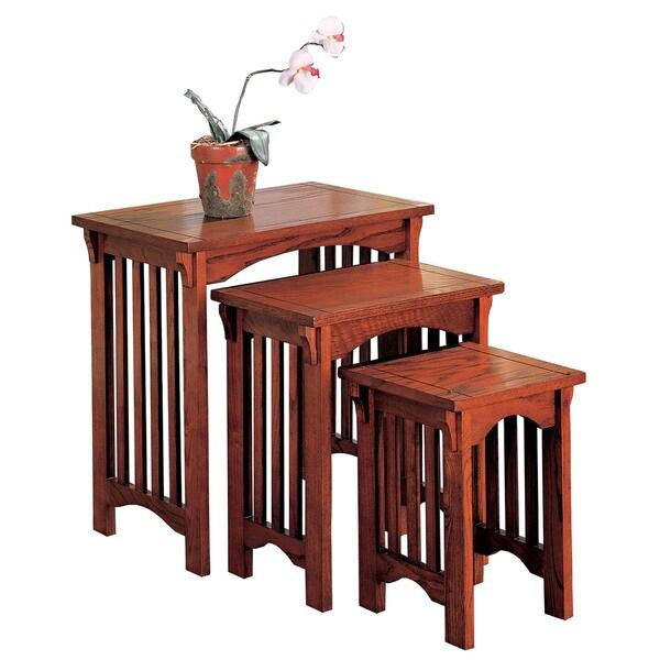 Coaster Company 3 Piece Oak Finish Nesting Table Set   Oak