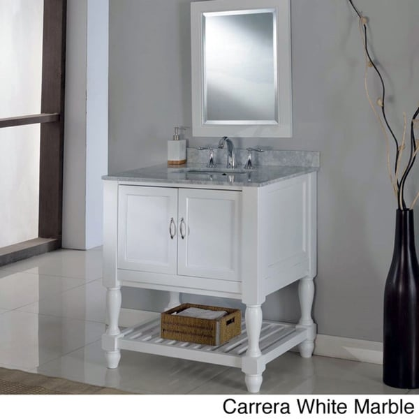 Shop direct vanity 32 inch pearl white mission turnleg spa - Bathroom vanities 32 inches wide ...