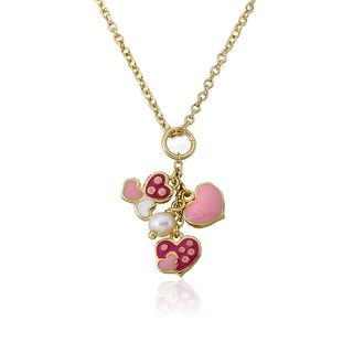 Little Miss Twin Stars 14k Gold Plated Pear and Assorted Heart I Love My Jewels Pendant Necklace