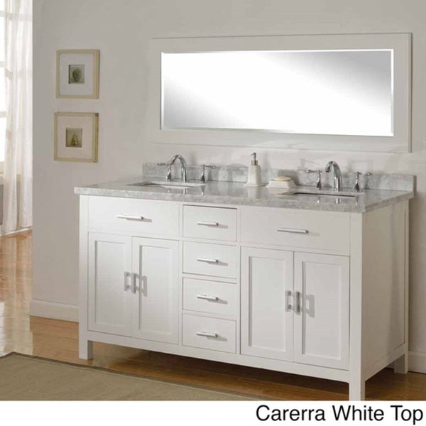 Direct Vanity Sink 63-inch Sutton Pearl White Double Bathroom Vanity Sink Console Set