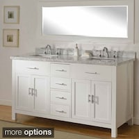 Direct Vanity Sink 63 Inch Sutton Pearl White Double Bathroom Console Set