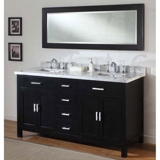 Direct Vanity 63 Inch Sutton Ebony Double Bathroom Vanity Sink Console Set