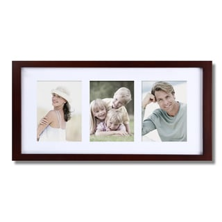Adeco 3-opening Walnut Matted Wooden Wall Hanging Collage Photo Frame