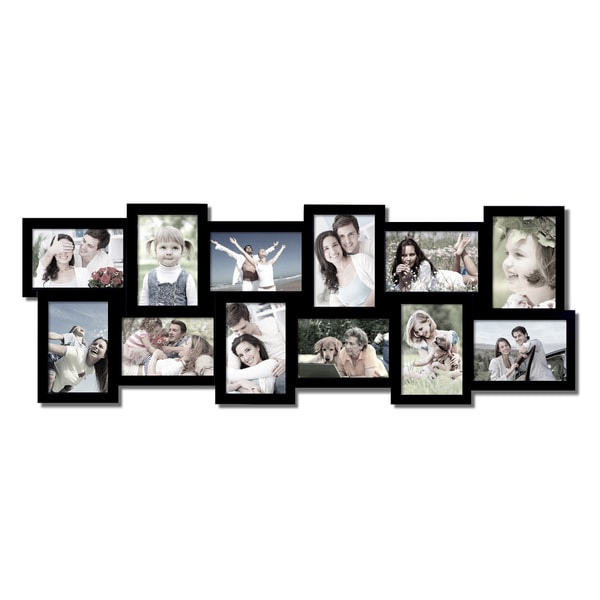 Shop Adeco 12-opening Black Wooden Wall Hanging Collage Photo Frames ...