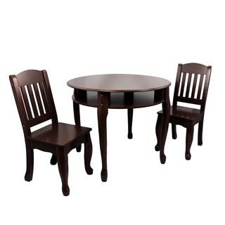 Teamson Windsor Collection Kids 3-piece Espresso Round Table Chair Set