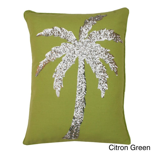 Palm Tree Sequin Feather Fill Throw Pillow 18x14