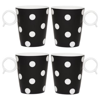 Freshness Mix & Match Dots Black 12-ounce Mug Set