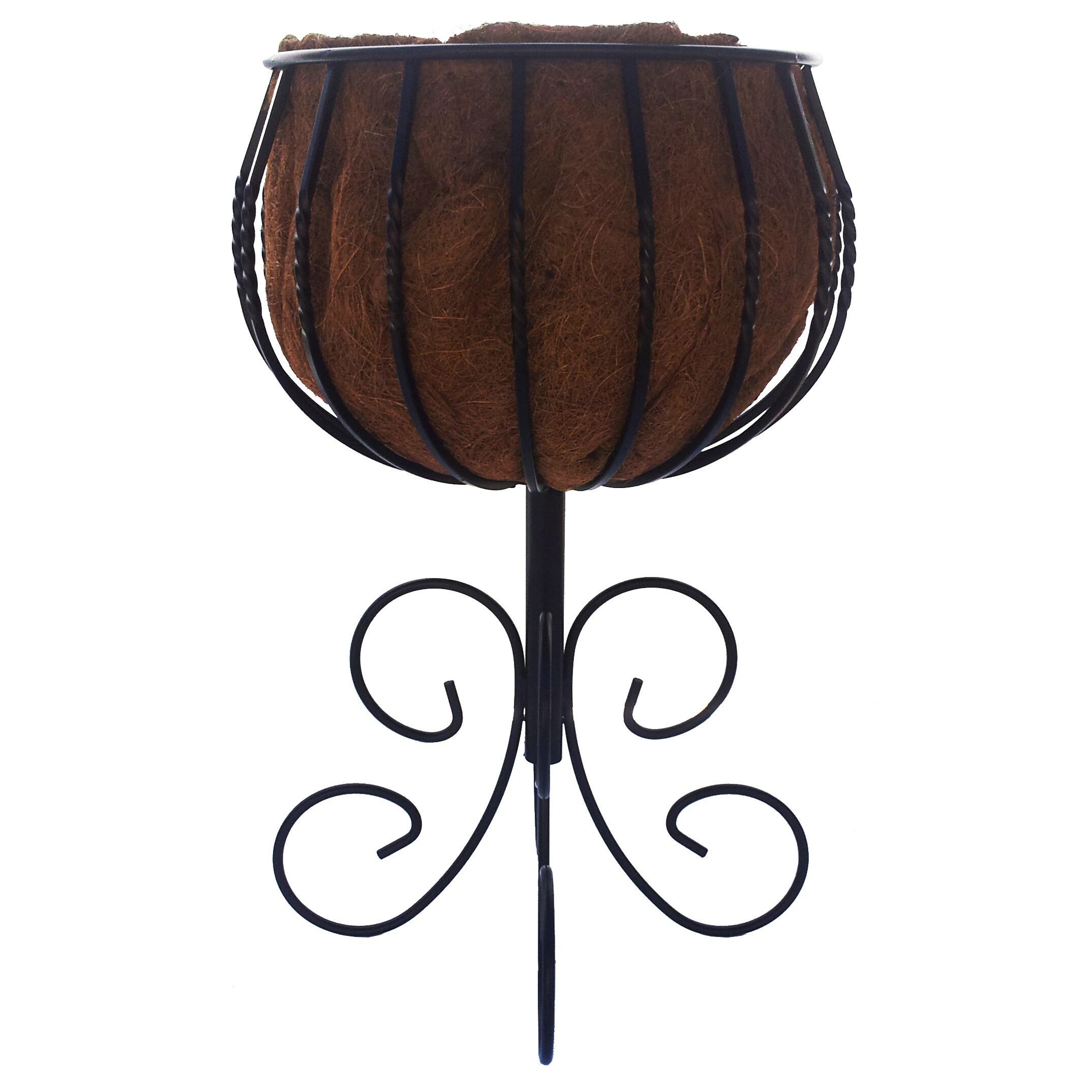 USA Gardman Blacksmith Black Steel Patio Urn with Coconut...