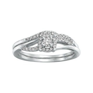14k White Gold 1/3ct TDW Bridal Engagement Halo Ring Set